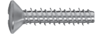 "Oval head screw for plastics with ""HILO"" thread"