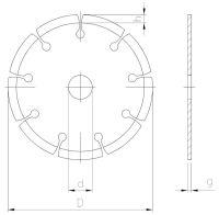 Diamond cutting wheel-segmented, for dry application