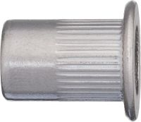 INOX Staninless steel grooved rivet nut with flat head