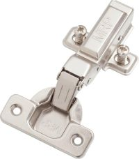 Clip-on soft closing  hinge half overlay type with mounting plate and euro screws