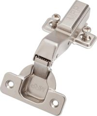 Angled soft-closing hinge - 45° with mounting plate and euro screws